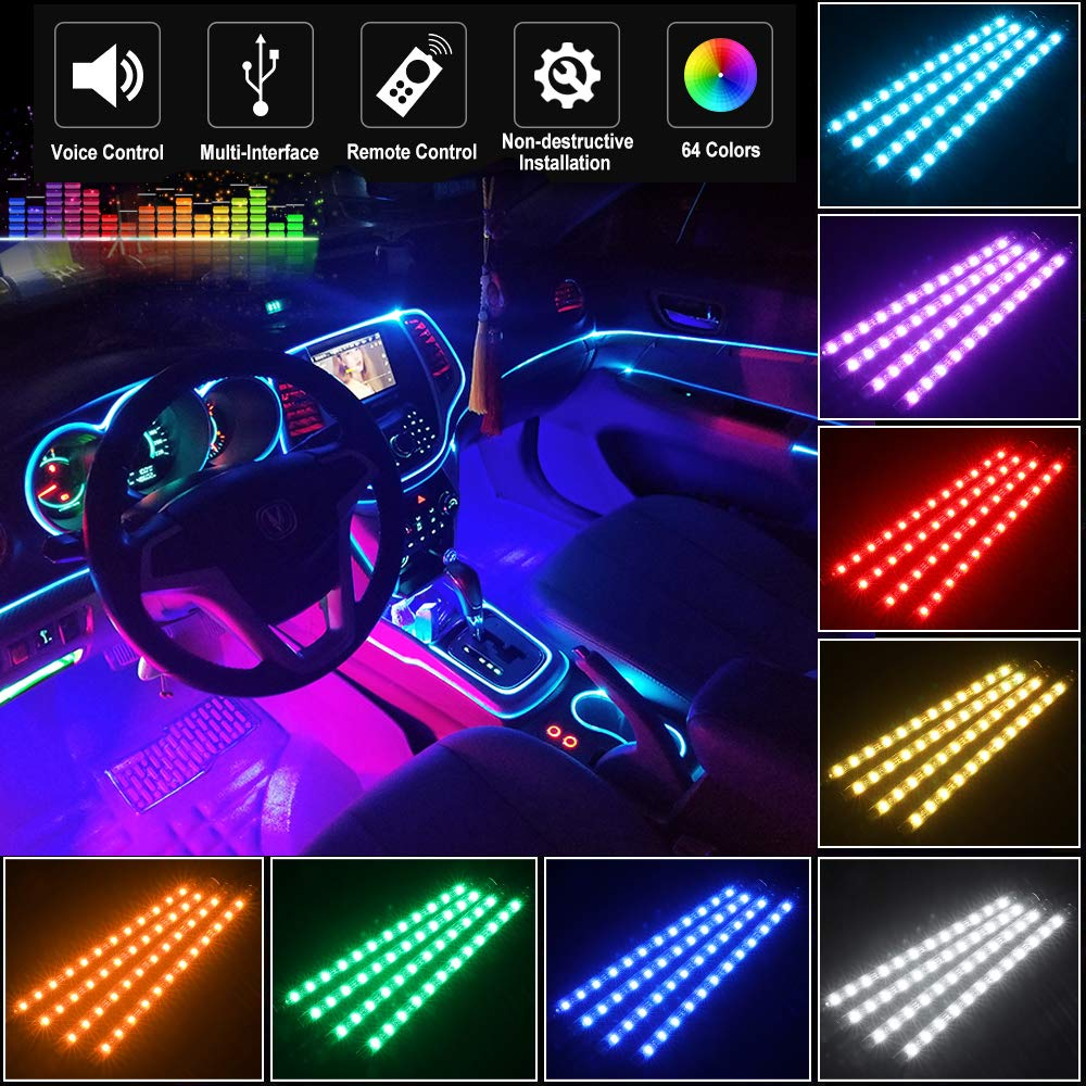 Car LED Strip Light for Cars,72 LED Car Interior Lights 12V Multicolor RGB Interior Car Atmosphere Neon Lights Under Dash Lighting Kit with Music Sound Active Wireless Remote Control, 12V- 72 LEDs