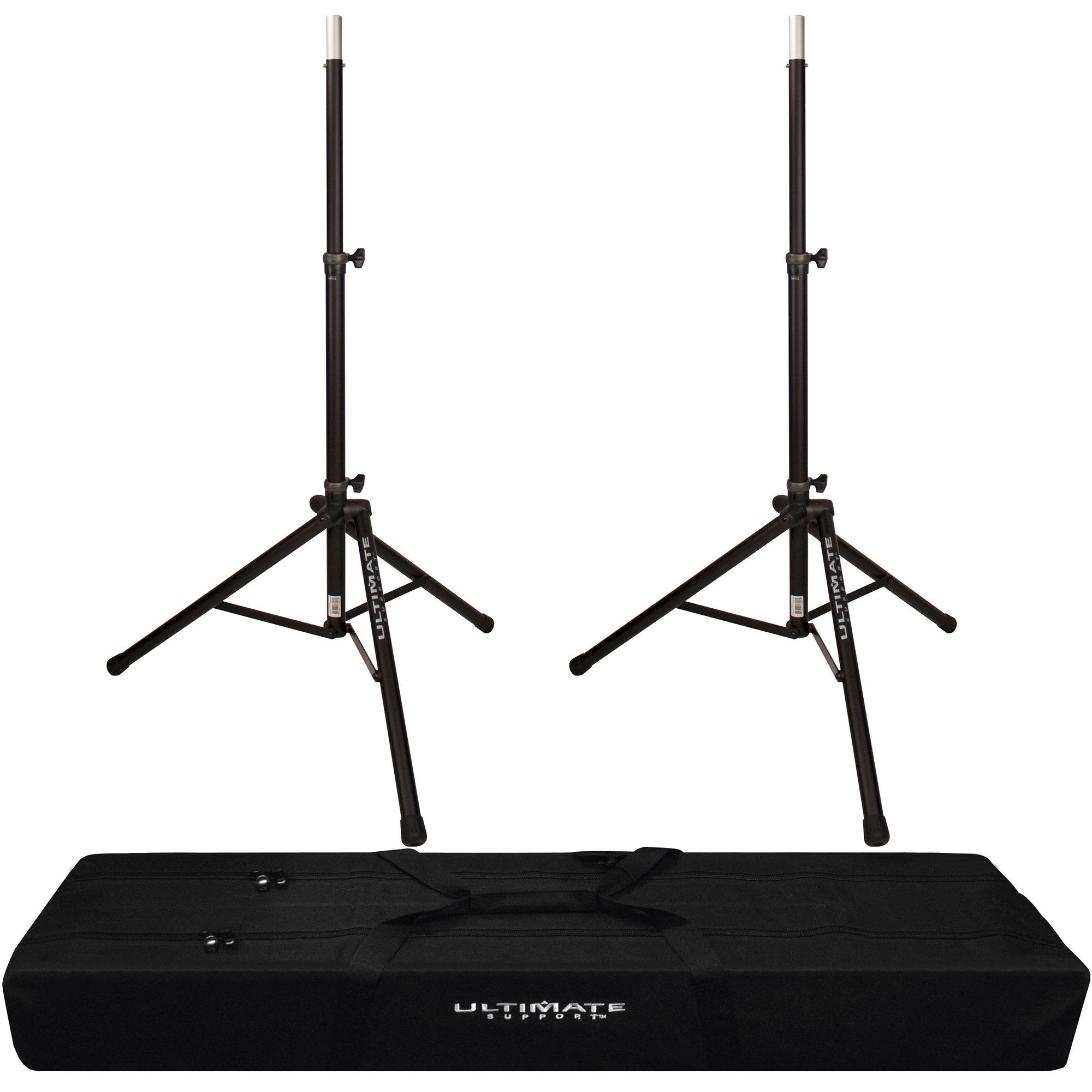 2x Ultimate Support TS-80B Speaker Stand with Padded Dual Tripod Tote Bag by FP Logistics, Ultimate Support