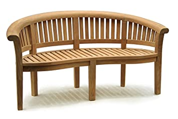 Deluxe Teak Banana Bench   Curved Wooden Benches With 12cm Deep Scrolled  Top Rail   Jati