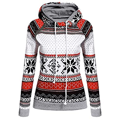 857b839dba72 TianWlio Weihnachten Pullover Langarmshirt Bluse Hoodie Frauen Herbst  Winter Weihnachtsdruck mit Reißverschluss Pullover Kapuzenpullover Tops   Amazon.de  ...