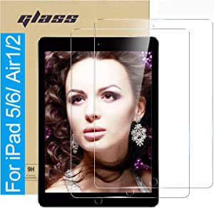 (2 Pack ) Amuoc Tempered Glass Film for Apple iPad Pro 9.7 (2018 & 2017 Model, 6th/5th Generation) / iPad Air 2 / iPad Air Screen Protector, HD Anti Scratch, Bubble Free(Please confirm your Ipad model to avoid errors), clear