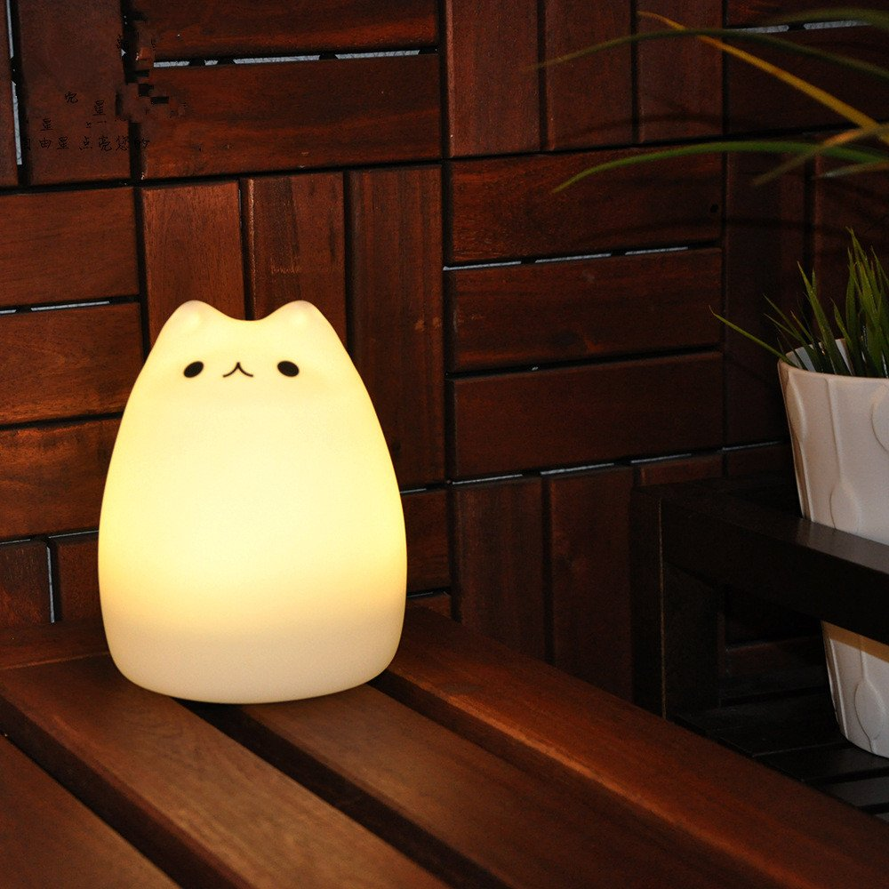 Cute Cartoon Cat Color LED Night Light Soft Silicone Shell Cat USB Rechargeable Lamp with 2 Modes in Bedroom or Children Room Fastdisk