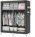 Intirilife Armario Tela Plegable 108x170x45 cm in Gris Ceniza – Guardar Ropa Organizador de Textil Tela Portátil con…
