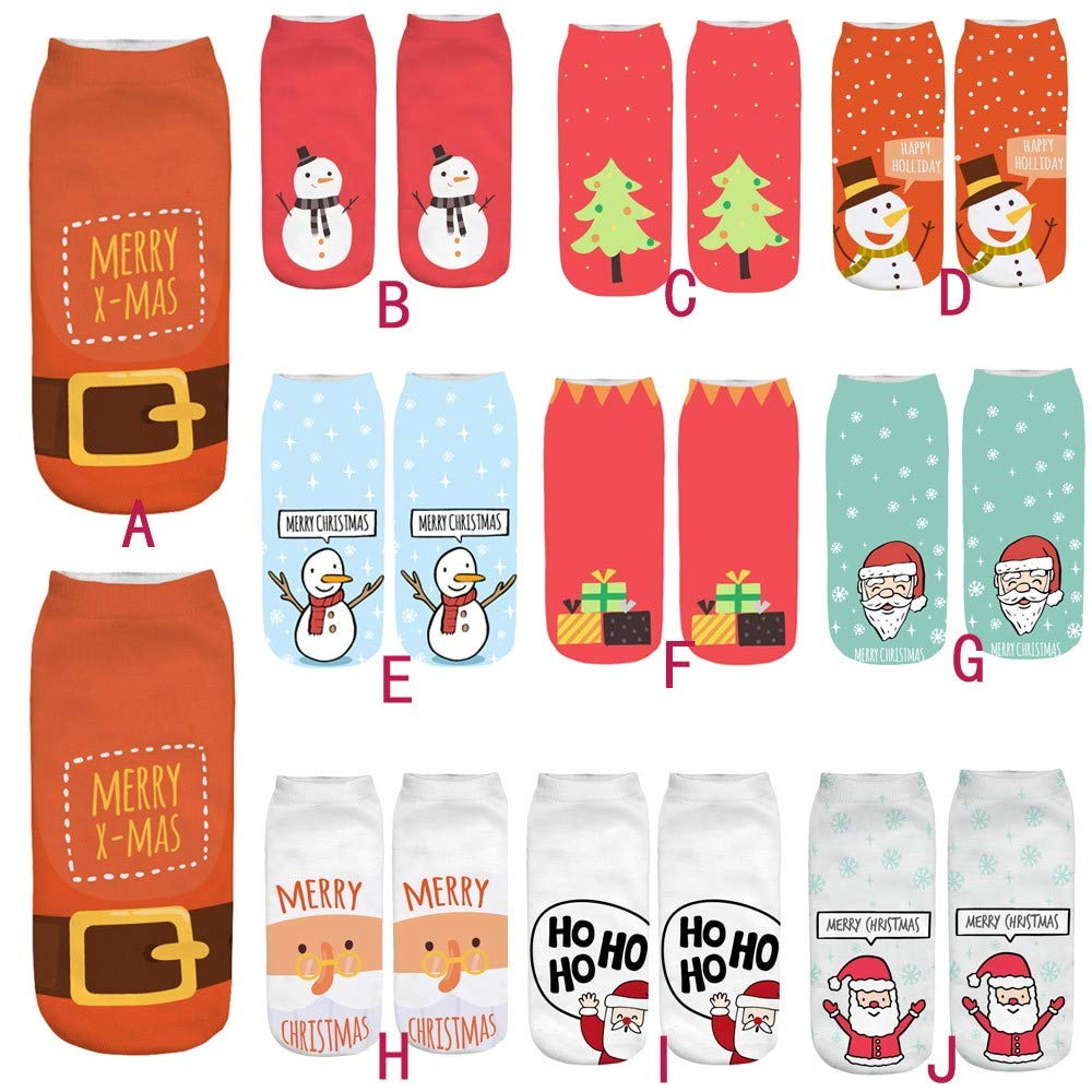GzxtLTX Single Ankle Socks Christmas Cartoon Funny Christmas 3D Pattern Printed