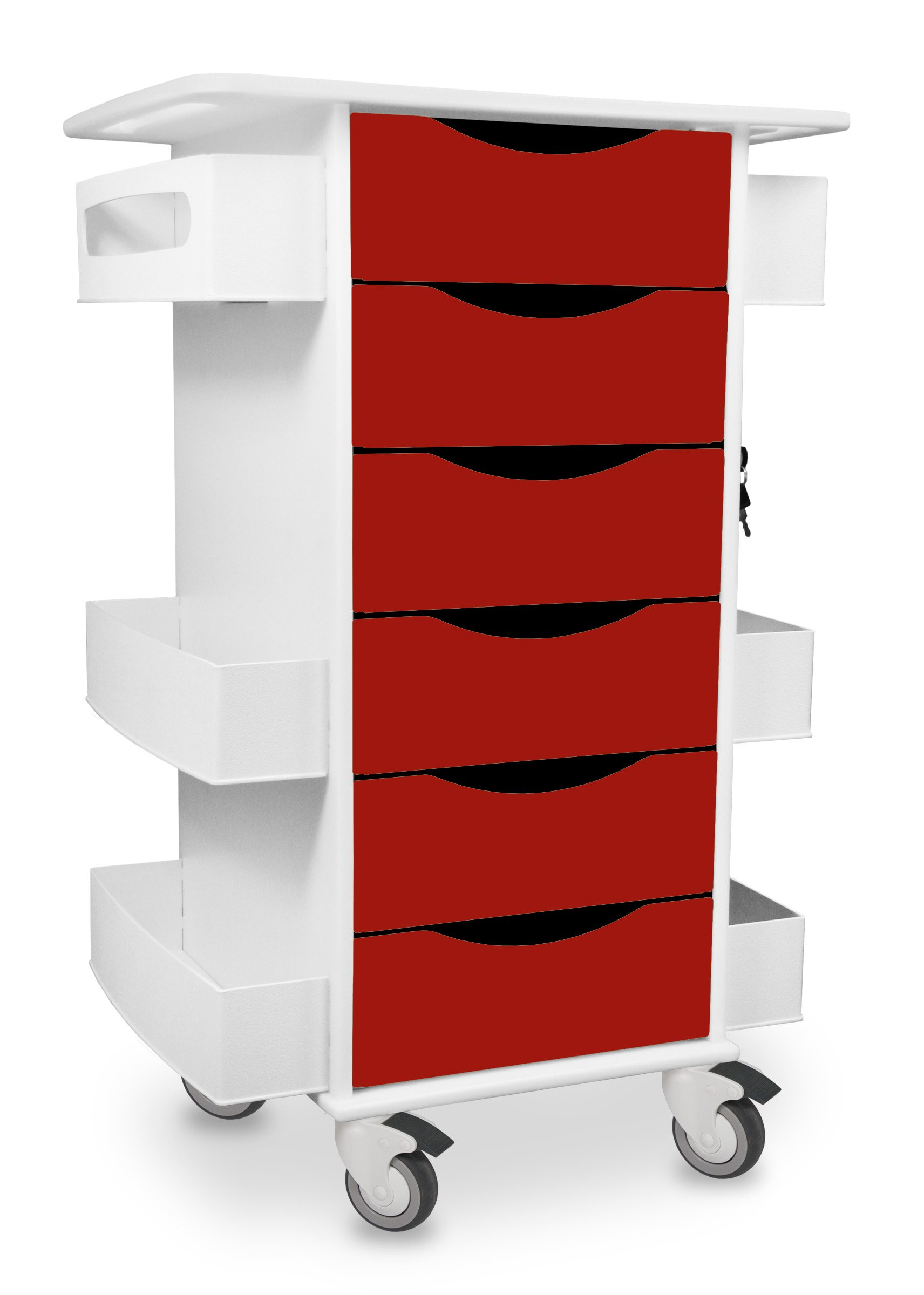 TrippNT 51379 High Density Polyethylene/Acrylonitrile Butadiene Styrene/PETG Core Medical Lab Cart with 6 Drawers, Cherry Red by TrippNT (Image #1)