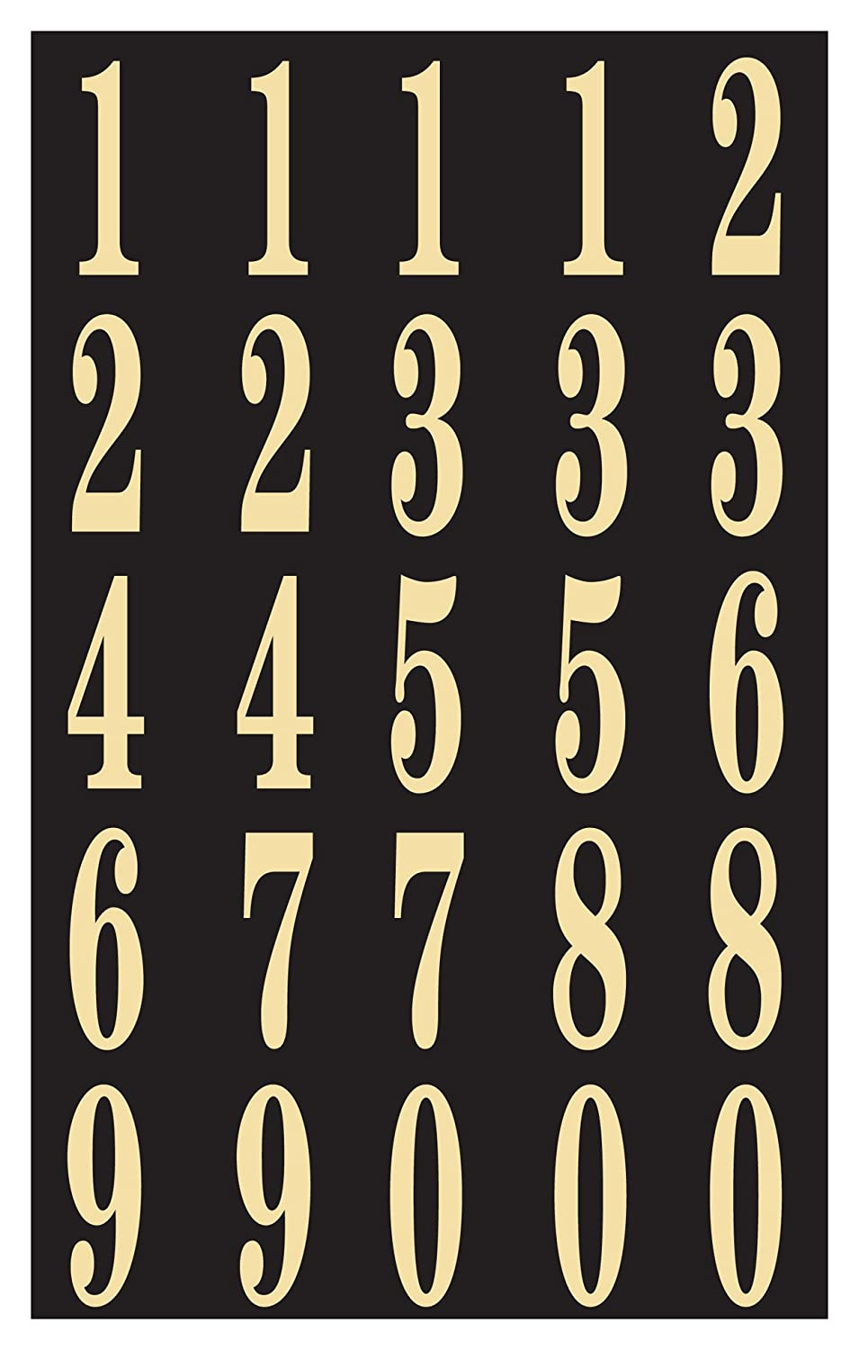 Self-Stick Numbers, 2' Black & Gold
