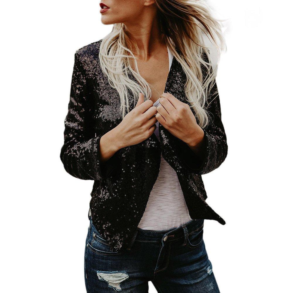 Women Cardigan Jacket Sparkle Sequin Bling Long Sleeve Sweaters Cover up Blouse Irregular Hem Short Tops (M, Black)