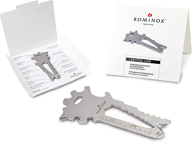 Geschenkartikel: ROMINOX Key Tool //// Lion Multifunktionswerkzeug f/ür unterwegs Edelstahl Multitool inkl 22 Funktionen Keytool Schl/üsselanh/änger auf Reisen oder im Urlaub Funktionsbeschreibung