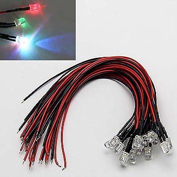 fertig verkabelt 5-15V 1 Stück 5mm LED rot mit 20cm Kabel für 12V DC