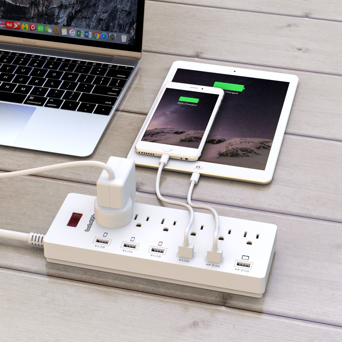 Power Strip,Bototek Surge Protector 4-Port USB Charging Ports and 4 AC Outlets,1250W USB Power Strip with 6 Feet Long Cord for Smartphone Tablets Home,Office /& Hotel White