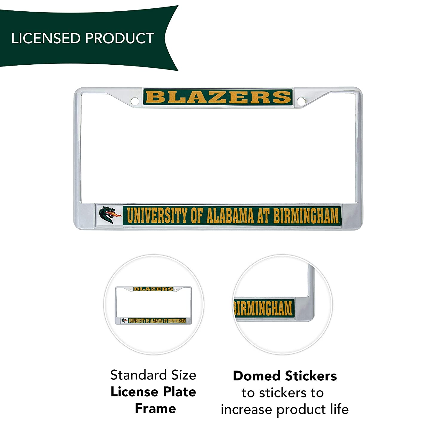 Desert Cactus University of Alabama at Birmingham Blazers Metal License Plate Frame for Front Back of Car Officially Licensed Mascot