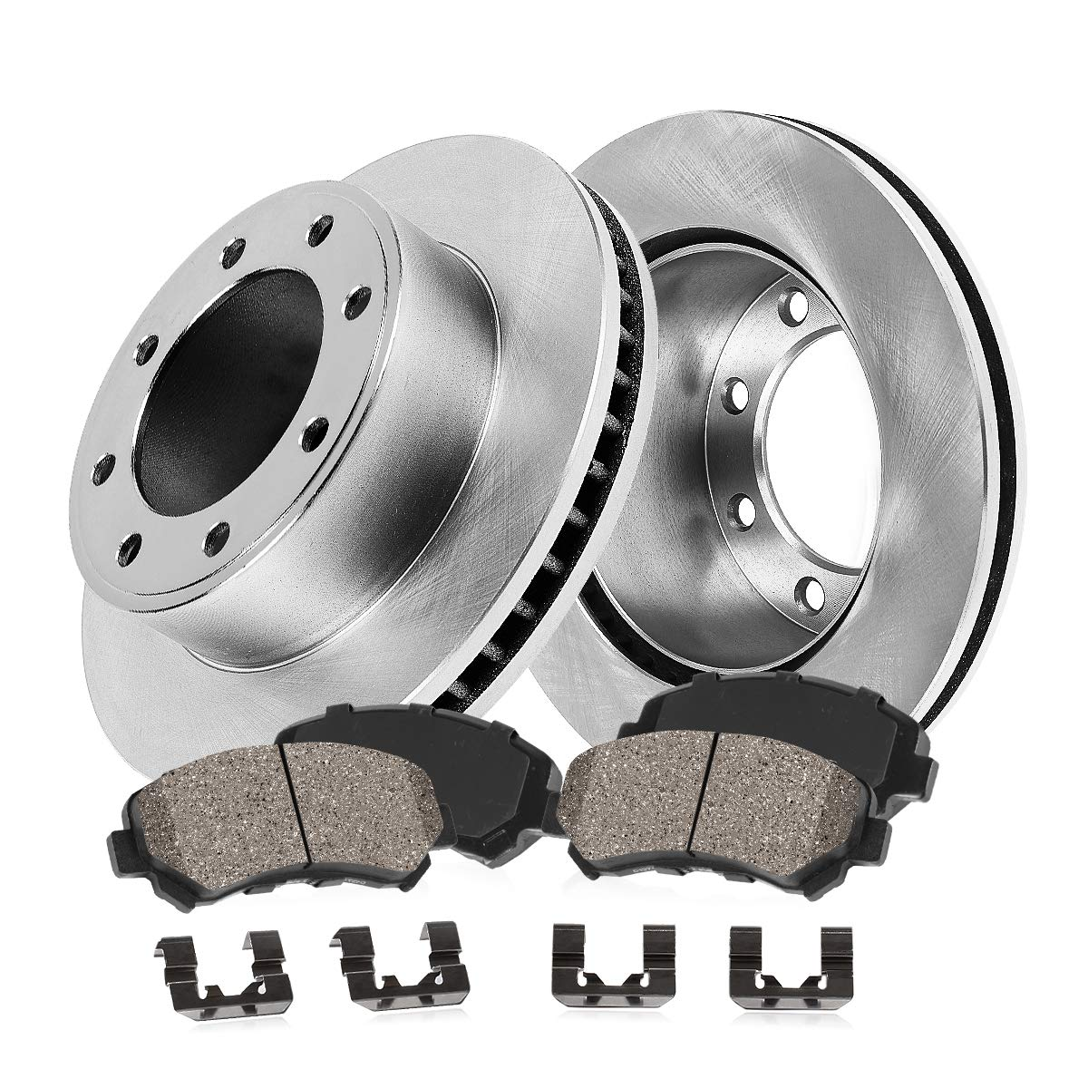 FRONT 324 mm Premium OE 8 Lug [2] Brake Disc Rotors + [4] Ceramic Brake Pads + Clips Callahan Brake Parts