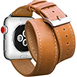 For Apple Watch Band 42mm, Marge Plus Genuine Leather Double Tour iwatch Strap Replacement Band with Stainless Metal Clasp for Apple Watch Series 3 Series 2 Series 1 Sport and Edition, Brown