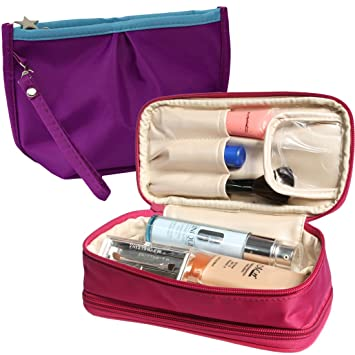 d7452321df08 kilofly Double-Sided Make Up Cosmetic Bag Jewelry Travel Organizer [2pc Set]