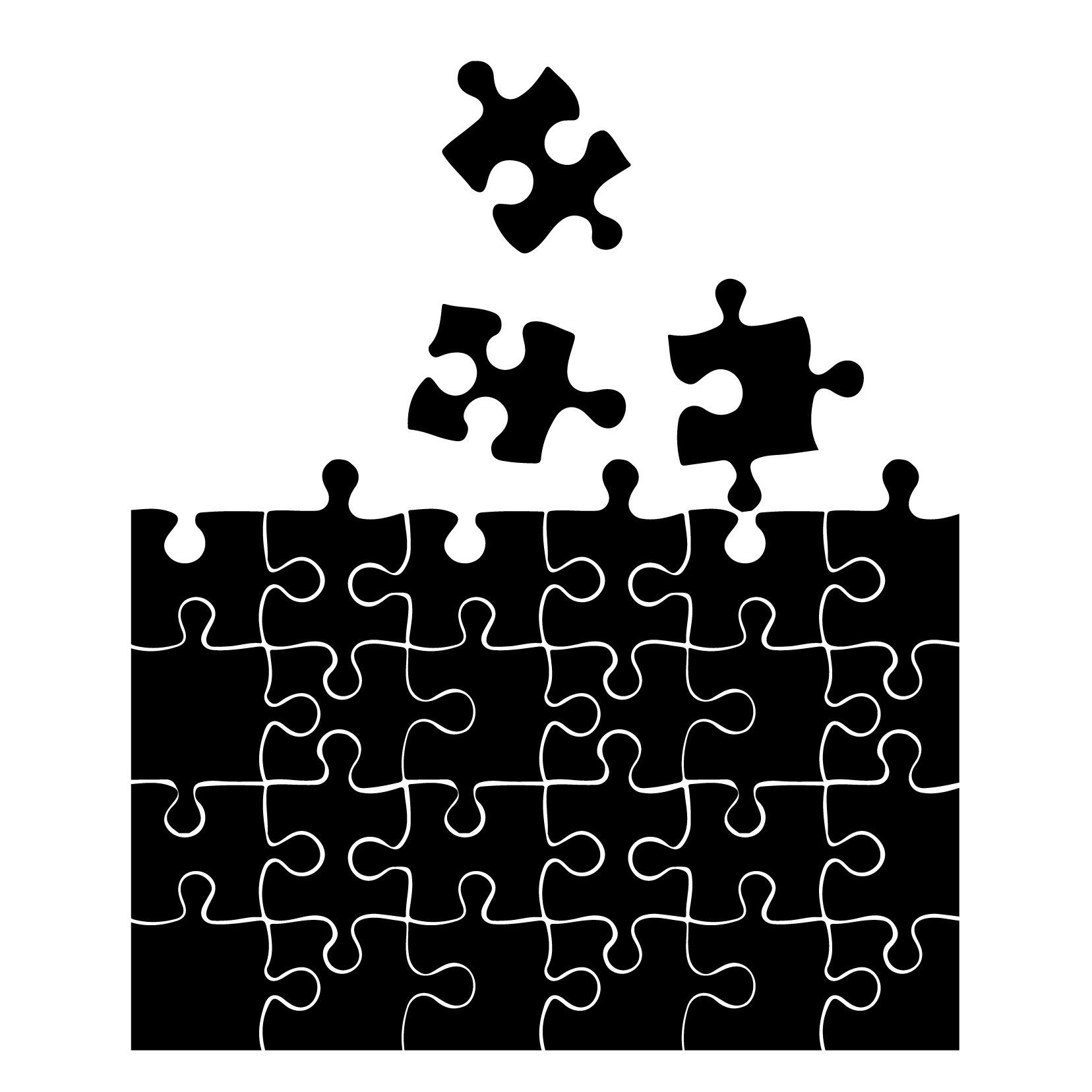 Puzzle Pieces Pattern - Small - Custom Vinyl Wall Art Decal for Homes, Offices, Kids Rooms, Nurseries, Schools, High Schools, Colleges, Universities, Interior Designers, Architects, Remodelers