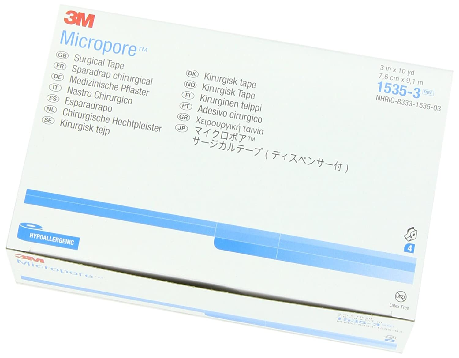 3M 1535-3 Micropore Medical Tape (Pack of 4)