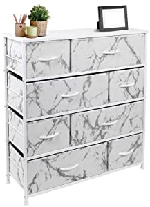Sorbus Dresser with 8 Drawers - Furniture Storage Chest Tower Unit for Bedroom, Hallway, Closet, Office Organization - Steel Frame, Wood Top, Easy Pull Fabric Bins