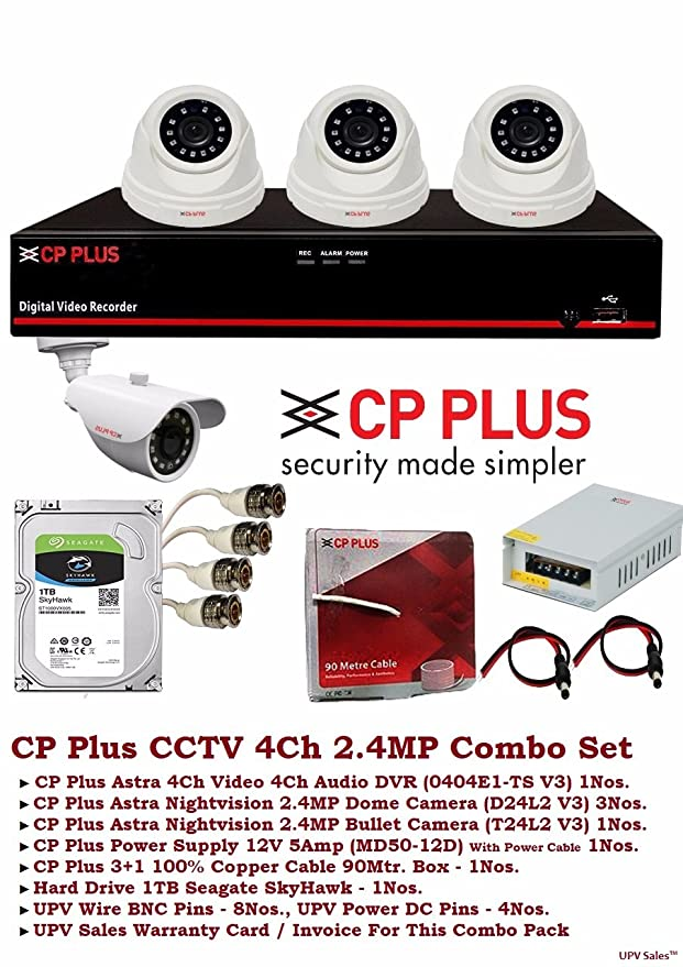 CP Plus Astra Full HD 4Ch DVR + 2.4 MP Nightvision Camera + 1TB Seagate Hard Disk (CCTV Kit) Dome Cameras at amazon