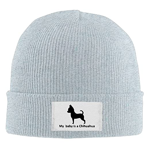 Unisex My Baby Is A Chihuahua Printed Beanie Hat Watch Cap Smart Cap  Fashion For Outdoor 35aaef64bee