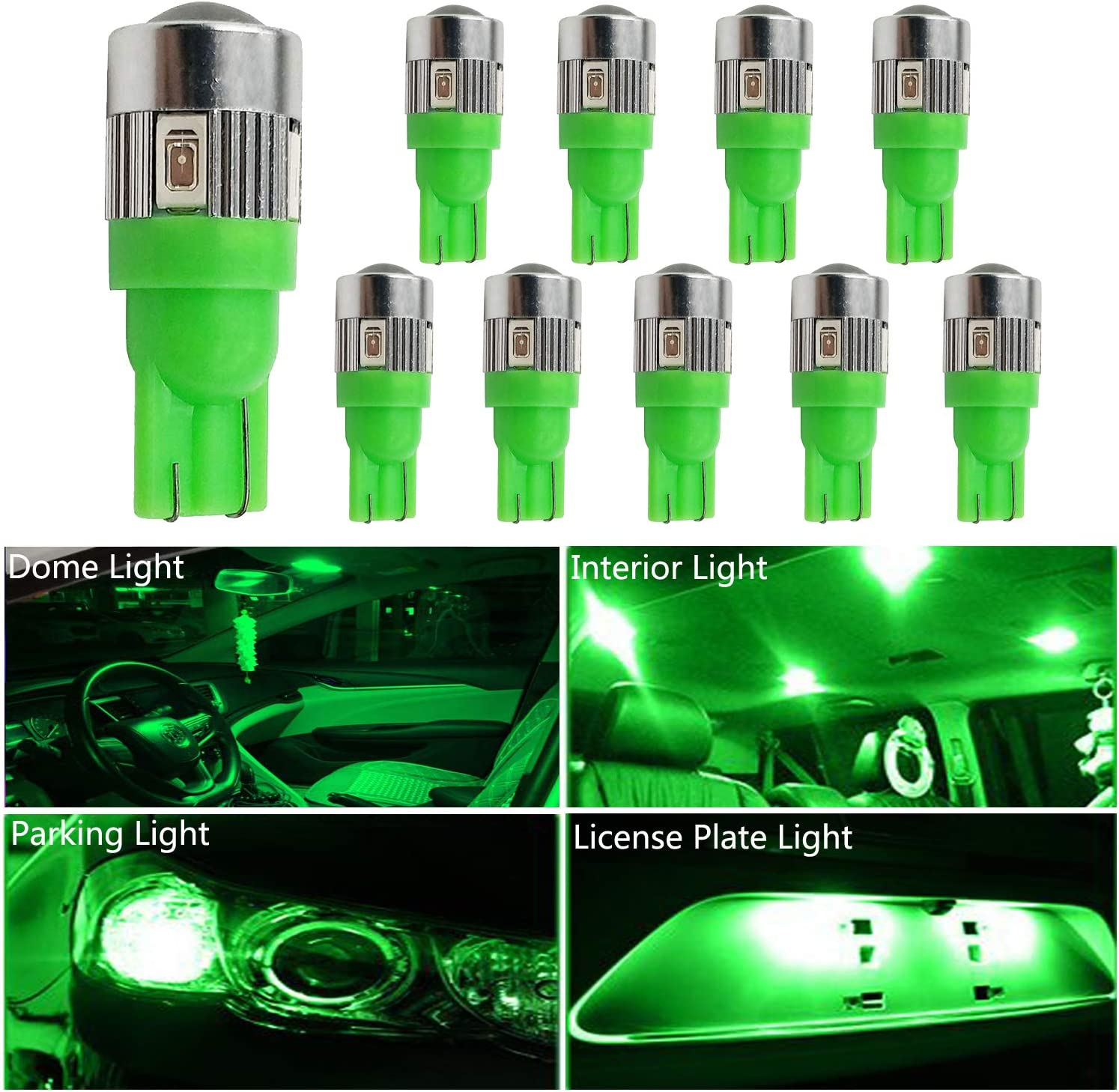 HOCOLO 10x T10 198 194 168 912 921 W5W 2825 Green Color Color High Power LED Bulbs For Interior Dome/Map/License Plate/Parking/Door/Trunk Lights (10pcs T10 6-SMD, Green)