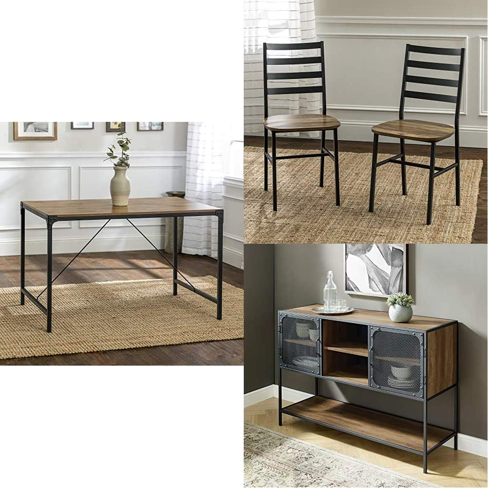 """Walker Edison Furniture Rectangle Kitchen Table w/Dining Chairs, 48"""", Barnwood 
