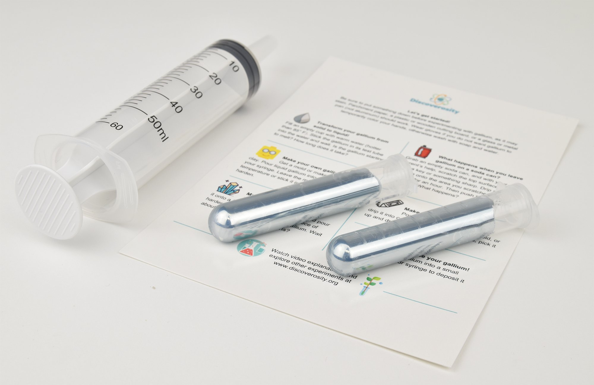 Gallium Melting Metal Gift - 100 Grams 99.99% Pure! Pack of Two 50 Gram Vials - Melts at 85.58°F - Fun, Safe and Perfect for Science Projects! + Free Plastic Syringe and Experiment Guide Included