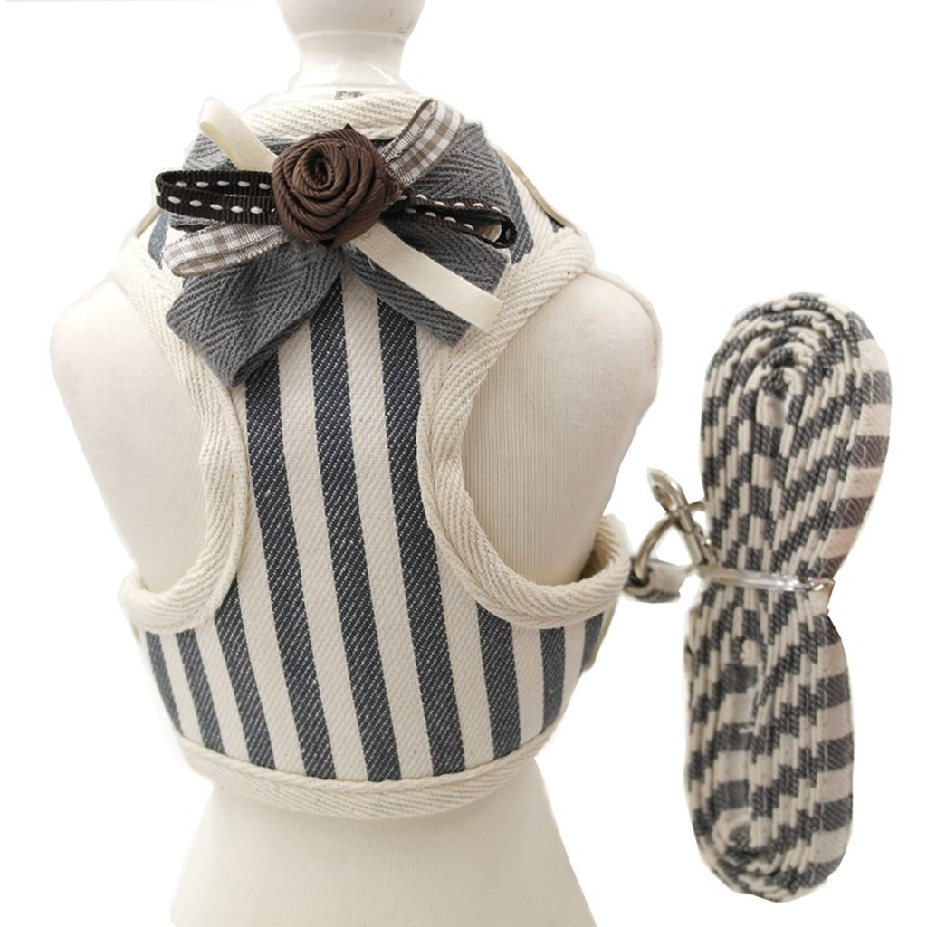 TLMY Striped Bow Tie Pet Chest Strap Dog Leash Spring And Summer Cat Leash Rope Slippery Cat Rope Small And Medium Dog Rope Pet Chain (color   B, Size   S)