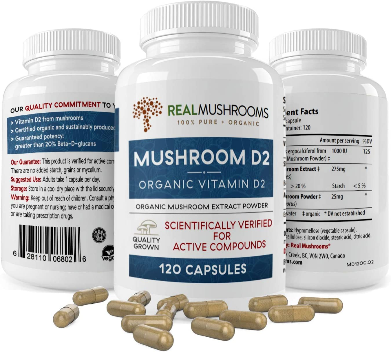 Organic Mushroom Vitamin D2 Supplements (120 caps), Vitamin D Vegan Supplement, Organic Vitamin D 1000 IU Vegan Supplement, Adult Vitamins Supplements, D2 Mushroom Supplement Softgels, Vegan Vitamins