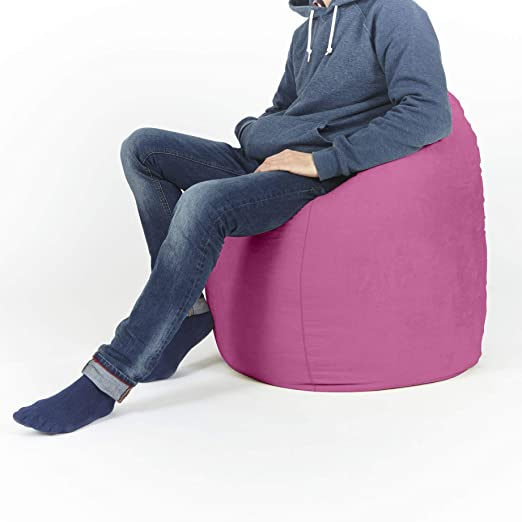 Lumaland Beanbag PUF otomano Puff XL Comfortline 120 lt sillón con Relleno Innovador y Costuras reforzadas Pink