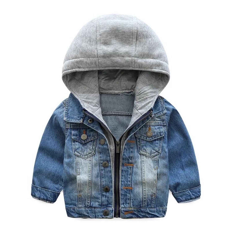 TJTJXRXR Little Boys Girls Cardigan Hooded Lapel Zipper Pocket Baby Denim Coat Jackets Outerwear