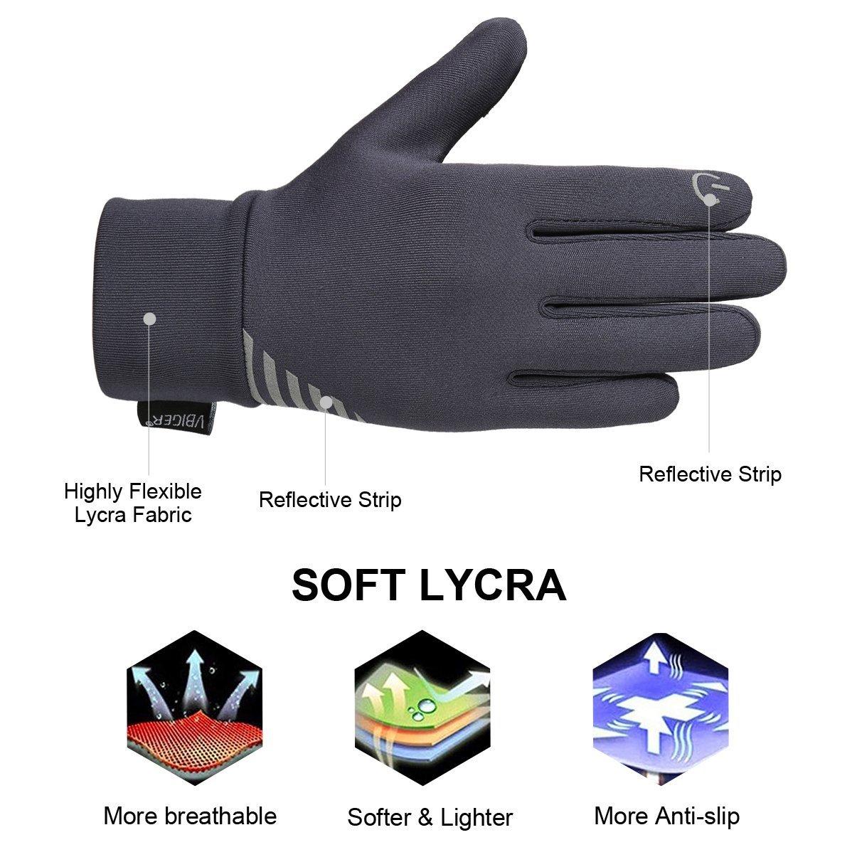 Vbiger Kinder Handschuhe Winterhandschuhe Radhandschuhe Leichte Anti-Rutsch Laufen für Jungen und Mädchen, Grau, Medium (6-8 Jahre)