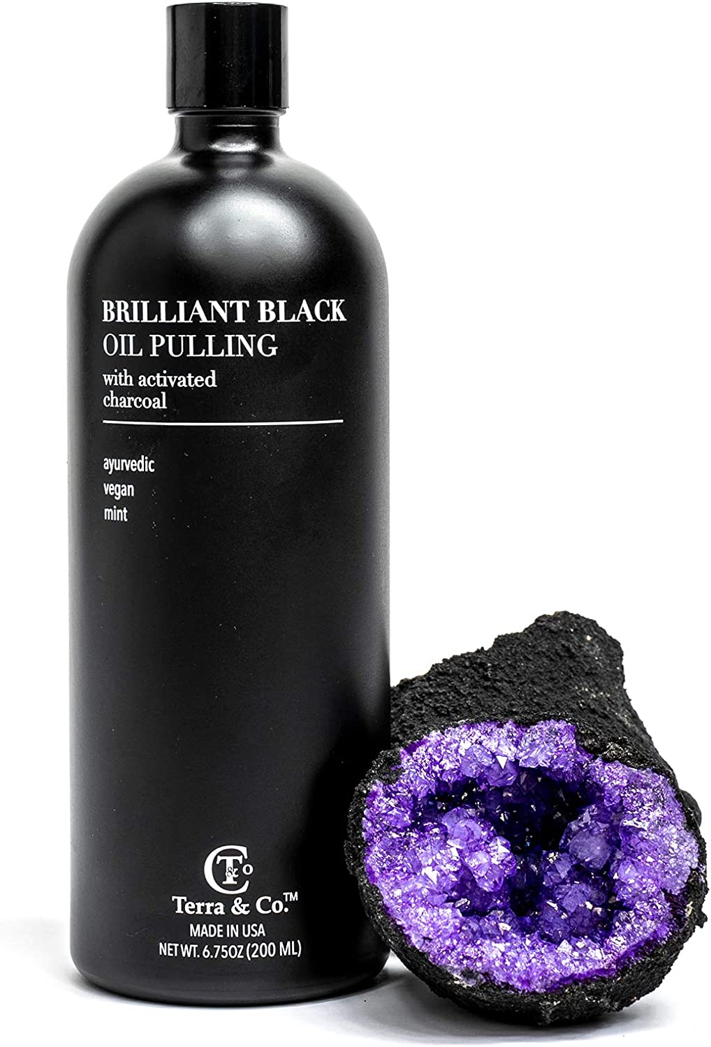 Brilliant Black Oil Pulling, Natural Ayurvedic Blend of Activated Charcoal and Coconut Oil, Oil Pulling Mouthwash Rinse with Peppermint Essential Oil - Terra and Co.