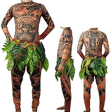 costume con gonna con foglie per Halloween per adulti cosplay da uomo e da donna Maglietta e pantaloni con tatuaggi tribali stampati