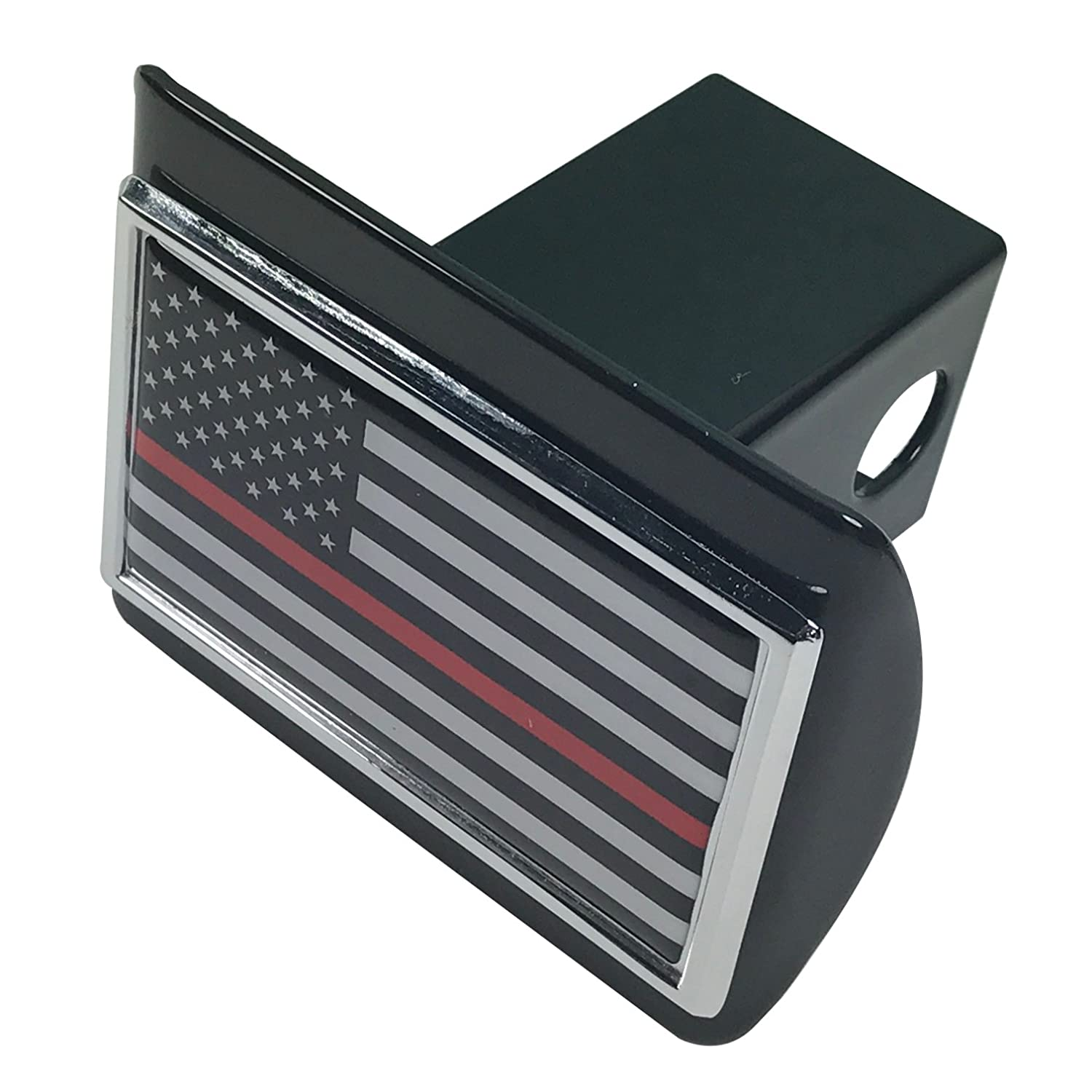 The Thin Red Line American Flag METAL Auto Emblem on Black METAL Hitch Cover Support Firefighters and EMTs AMG Auto Emblems