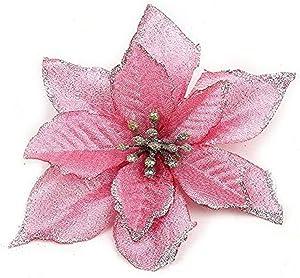 Zabrina 12 Pcs 5.11 in Christmas Tree Decorative Silk Flower Gold Poinsettia Bush and Red Poinsettia Bush Artificial Flowers Red Glitter Poinsettia Christmas Tree Ornaments (Pink)