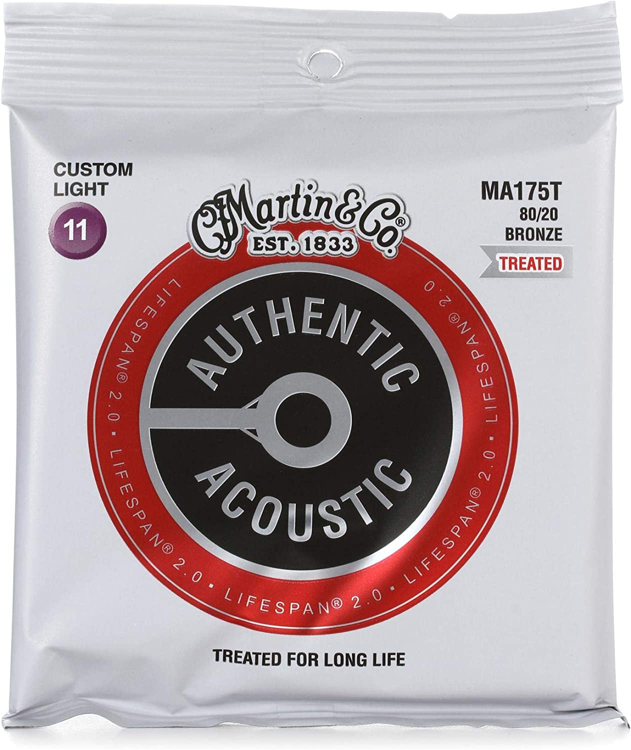 Lifespan 2.0 Treated Martin Authentic Acoustic Guitar Strings