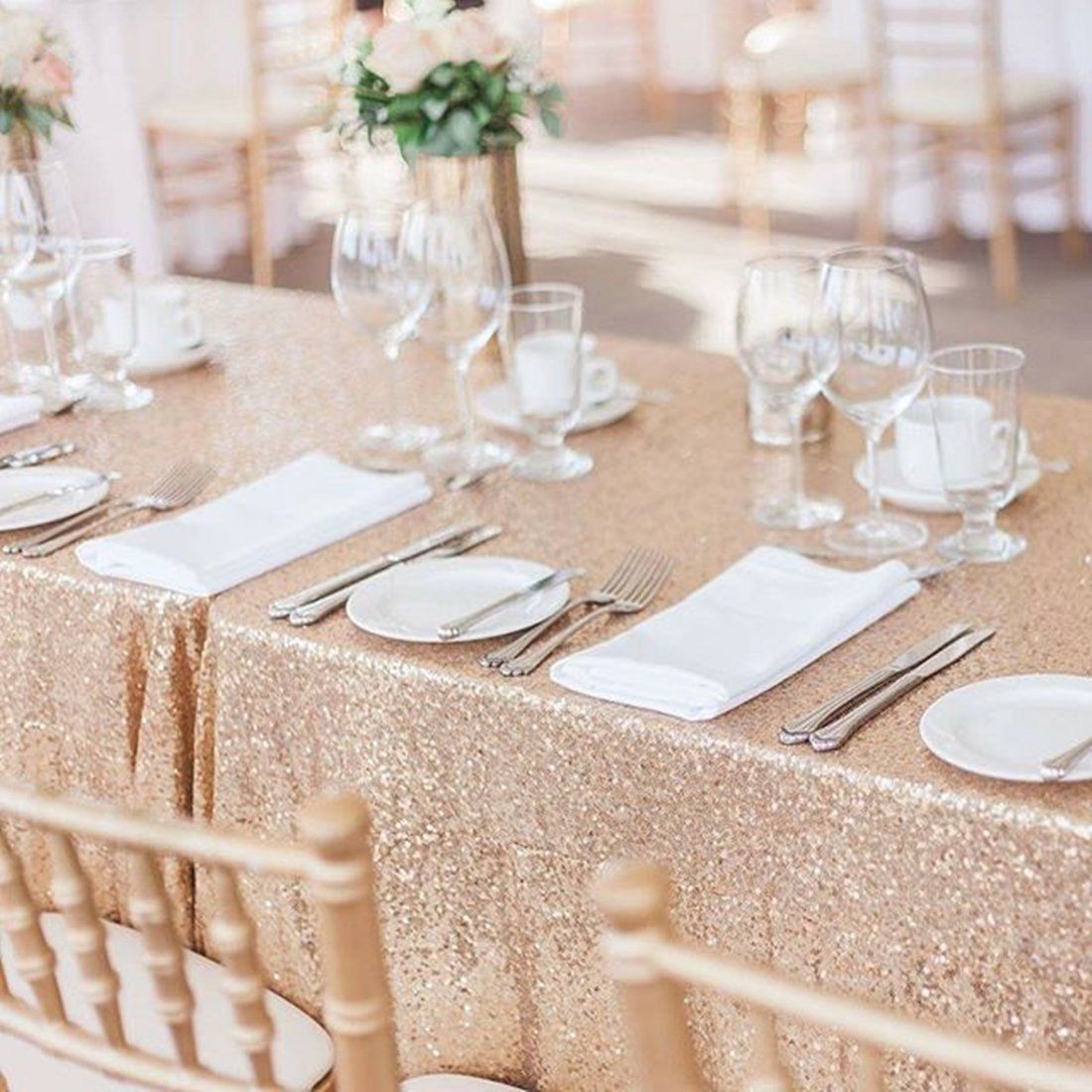 SoarDream Sequin Tablecloth 50x80 inch Champagne Blush Glitter Tablecloth Wedding Table Linen by SoarDream (Image #5)