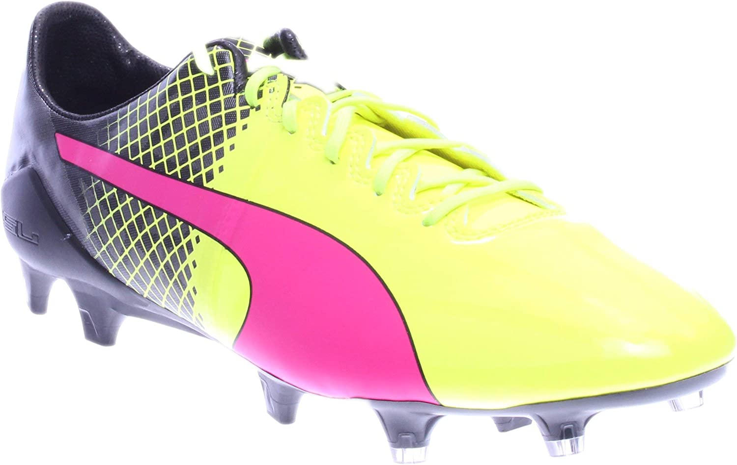 Puma Mens Evospeed 1.5 Tricks Fg Shoes Pink Glo-Safety Yellow-Black Size 8