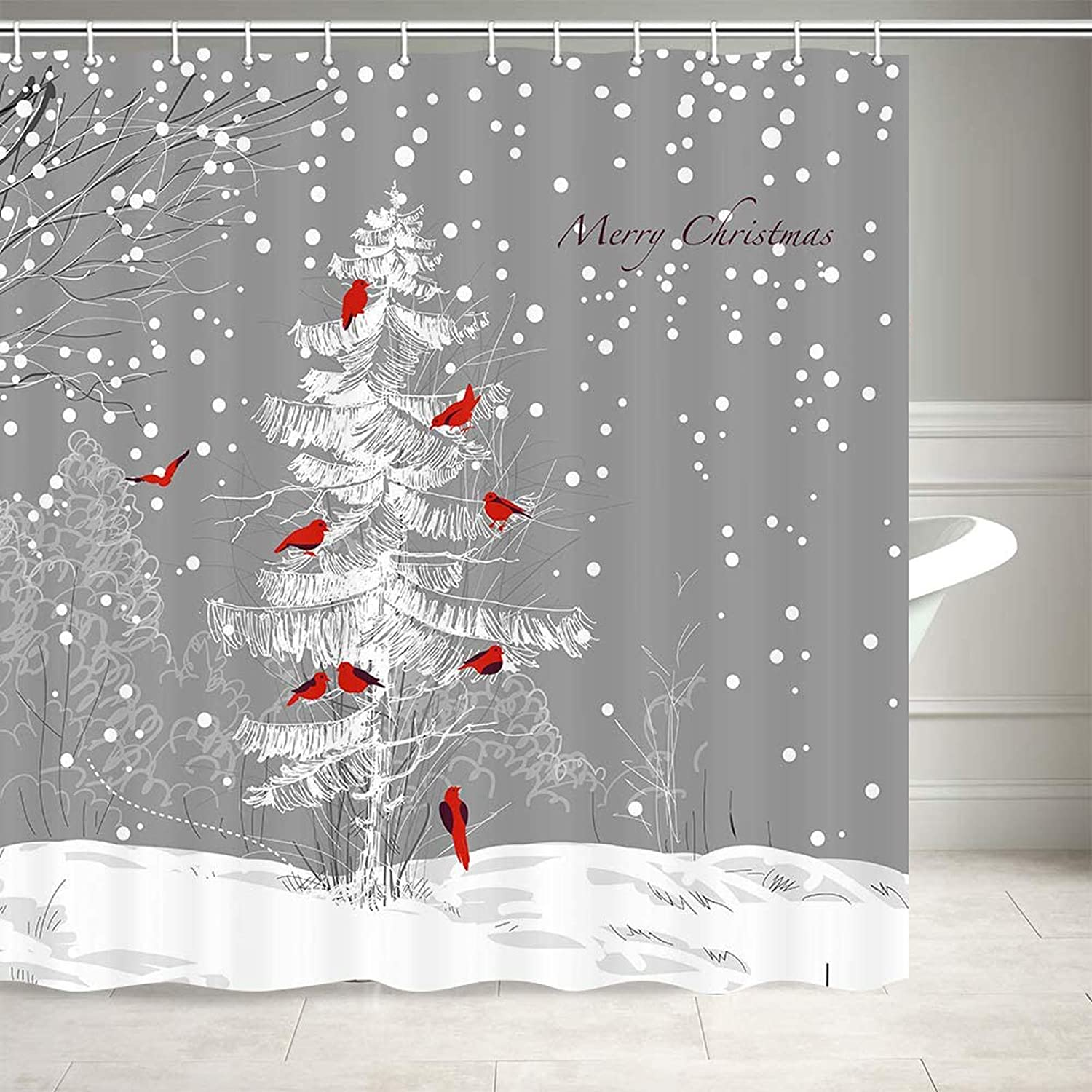 Christmas Shower Curtain, Cardinals Bird on Xmas Tree on Falling Snowy Winter Forest Bathroom Curtains, Fabric Cold Winter Day Birds Xmas Tree Winter Scene Picture Shower Curtain 12PCS Hooks, 69X70IN