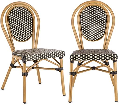 blumfeldt Montpellier BL Chaise de Jardin, Nettoyage Facile, Cadre en Aluminium, Empilable, Résistante aux intempéries, Peu encombrante, Assise