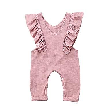 f9827829923d8 Unmega Baby Girl Sleeveless Romper Ruffle Jumpsuit Long Pants Overalls