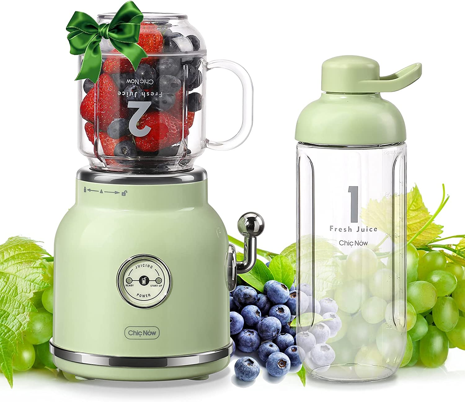 Smoothie Blender Personal Blender, ChicNow Portable Smoothie Maker for Juice Shakes and Smoothie with 6 Sharp Blades, Travel Cup and Lid, Green