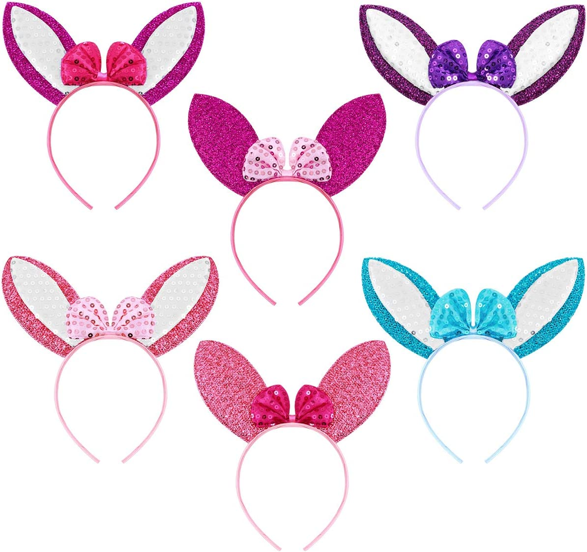 Frcolor - Diadema de orejas de conejo de Pascua para niños y adultos, disfraz de Pascua para disfraz de cosplay, 6 unidades