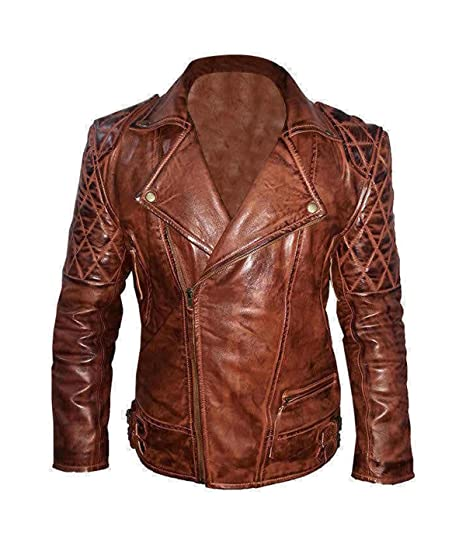 589fc8463 Mens Vintage Motorcycle Quilted Diamond Leather Jacket Brown at ...