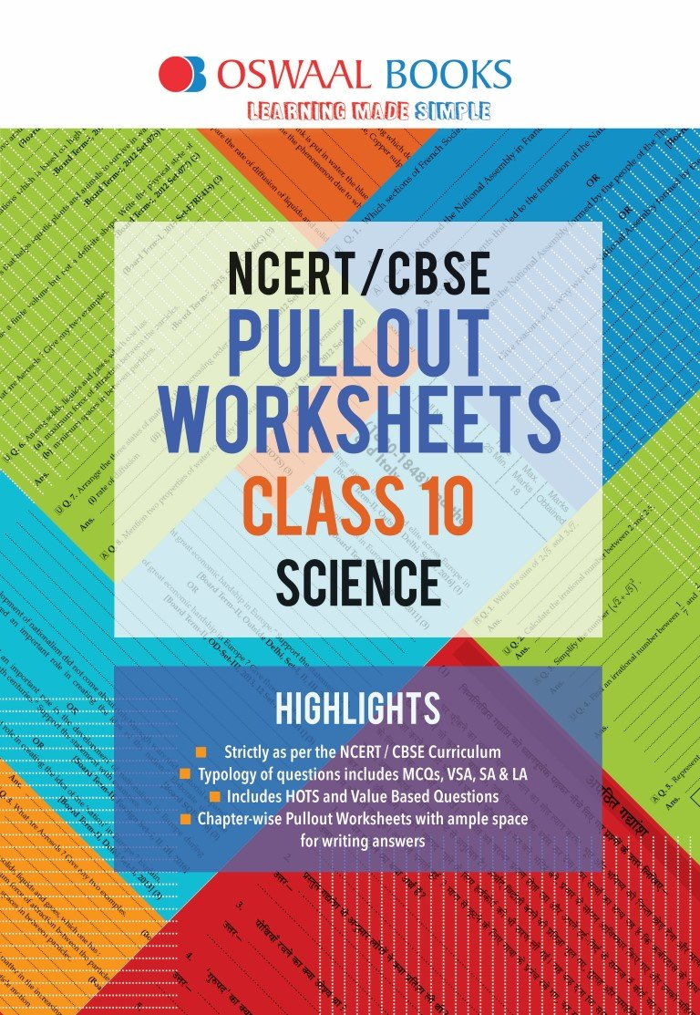 Oswaal NCERT and CBSE Pullout Worksheets Class 10 Science For March ...