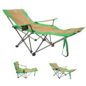 Outdoor Portable Versatile Folding Chair, Sit Or Recliner, Mix Green And  Carry Bag/