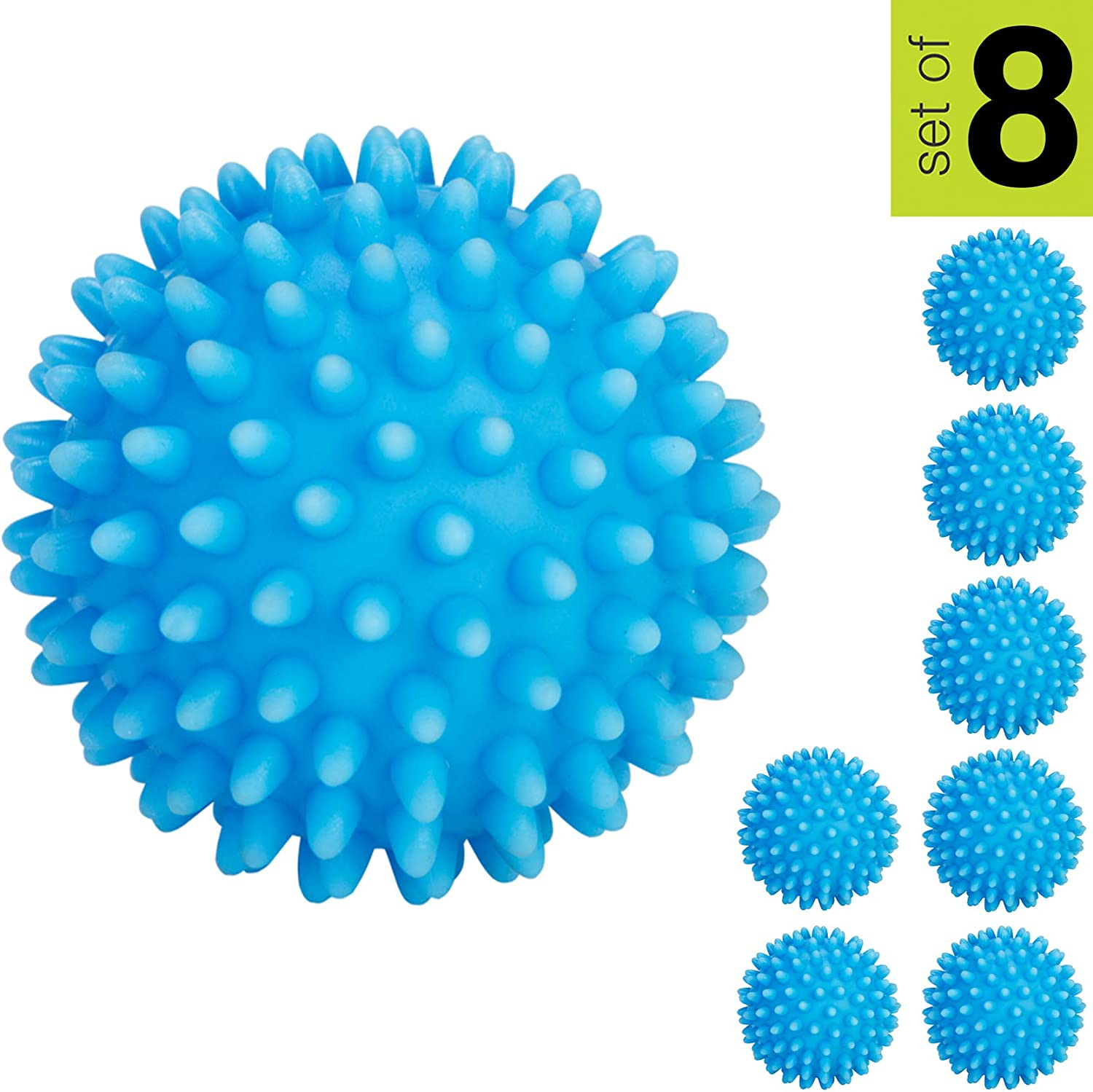 Smart Design Plastic Dryer Balls w/Spikes - Fabric Softener - Eliminates Wrinkles & Reduces Static - for Laundry, Clothes, Fabrics (8 Pack) [Blue]