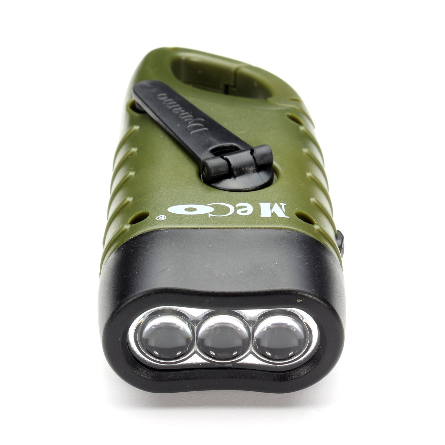 MECO Hand Cranking Solar Powered Rechargeable Flashlight Emergency LED Flashlight Carbiner Dynamo Quick Snap Clip Backpack Flashlight Torch Weather Ready for Camping Outdoor Climbing Hiking ME-HCF