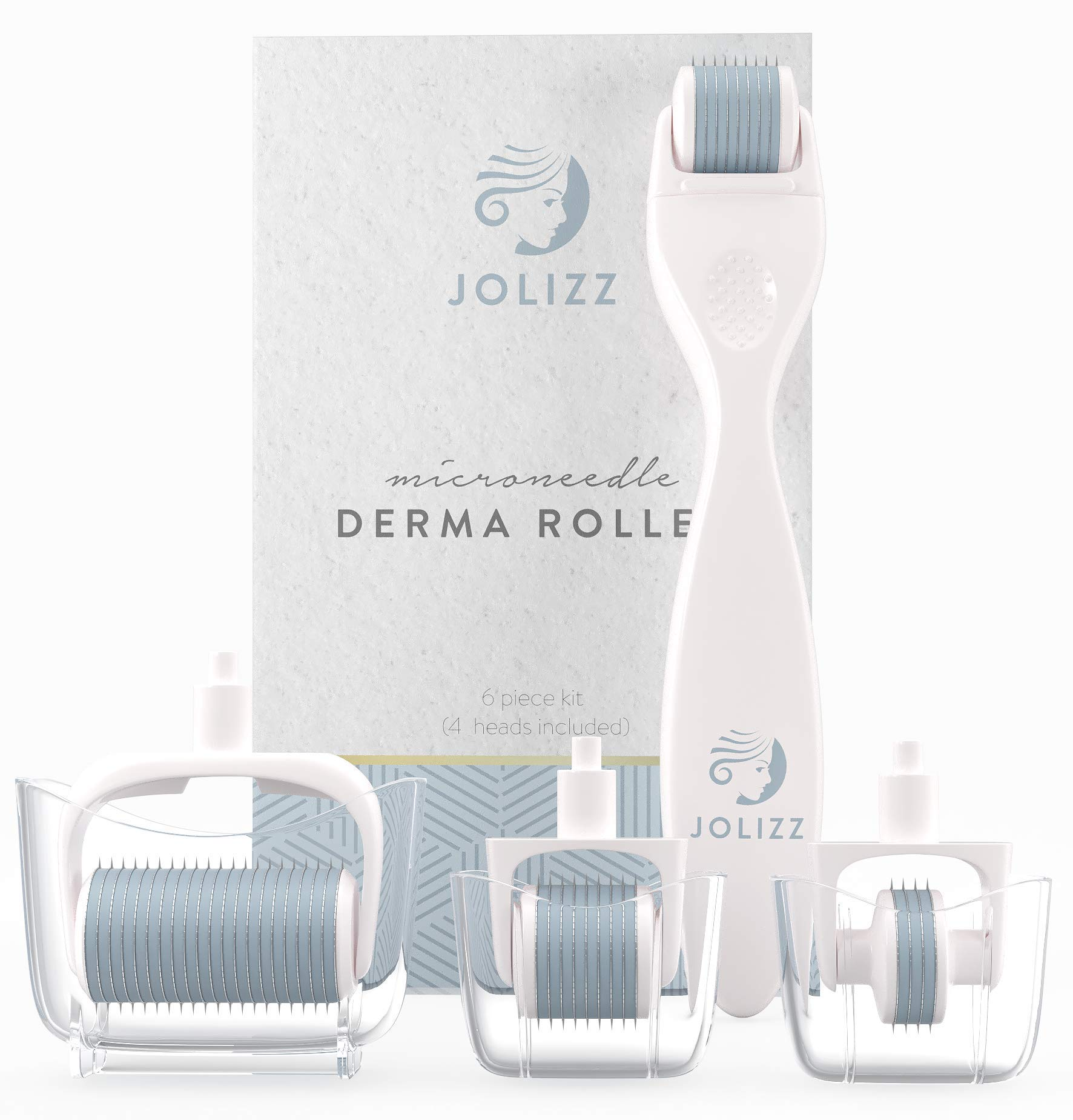 Jolizz Derma Roller Microdermabrasion Tool with FOUR Titanium Replaceable 0.25mm Microneedling Heads :1 Small 240 Needles, 2 Medium 600 Needles and 1 Large 1200 Needles - Women Face & Skin Care by Jolizz