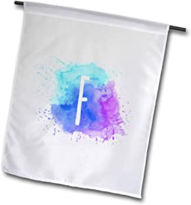 3dRose Stamp City - Typography - Monogram Letter F Inside a Teal, Blue, and Purple Paint Splash. - 18 x 27 inch Garden Flag (fl_324826_2)